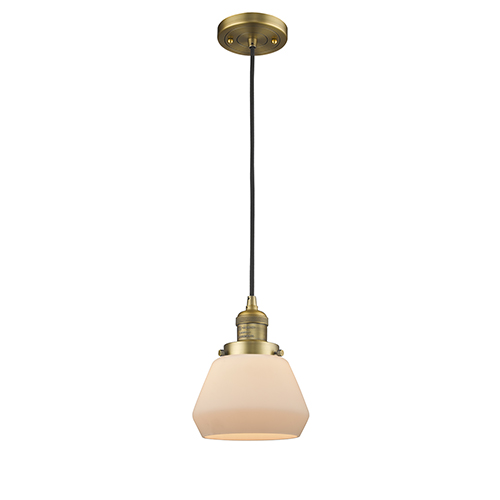 Innovations Lighting Fulton Brushed Brass Seven-Inch LED Mini Pendant with Matte White Cased Sphere Glass and Black Cord