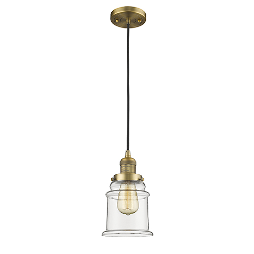Canton Brushed Brass Six-Inch One-Light Mini Pendant with Clear Bell Glass