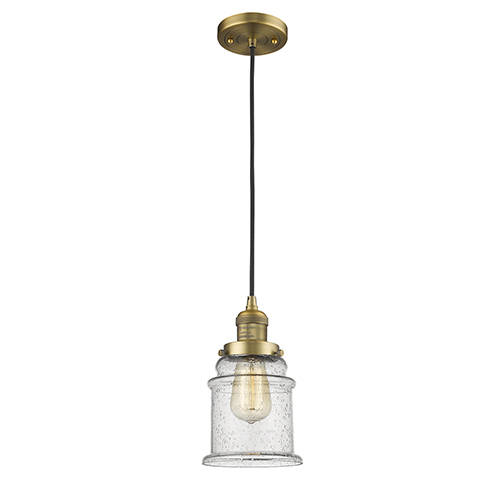 Innovations Lighting Canton Brushed Brass Six-Inch LED Mini Pendant with Seedy Bell Glass