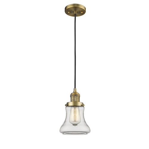 Innovations Lighting Bellmont Brushed Brass Six-Inch LED Mini Pendant with Clear Hourglass Glass