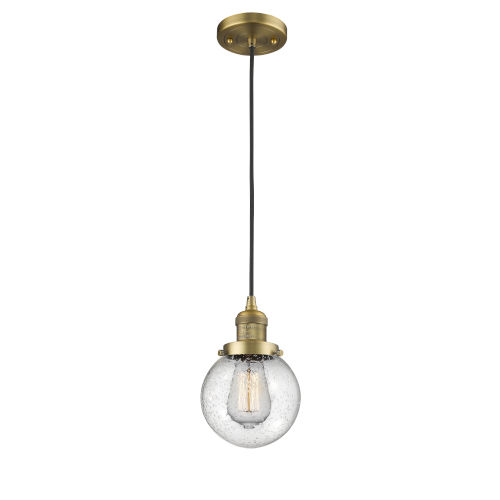 Beacon Brushed Brass LED Mini Pendant with Seedy Glass