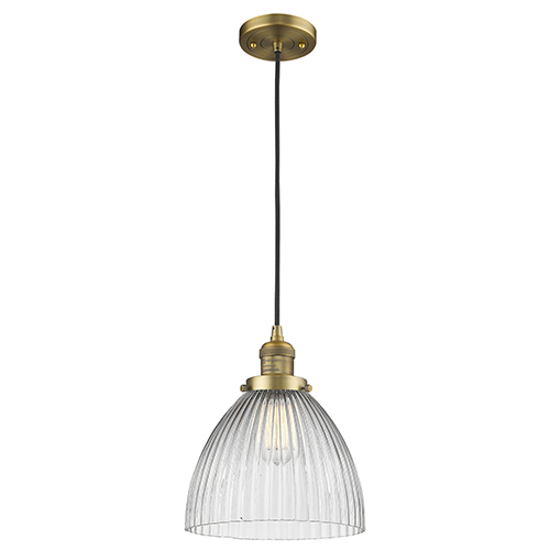 Innovations Lighting Seneca Falls Brushed Brass 10-Inch One-Light Mini Pendant with Clear Dome Glass