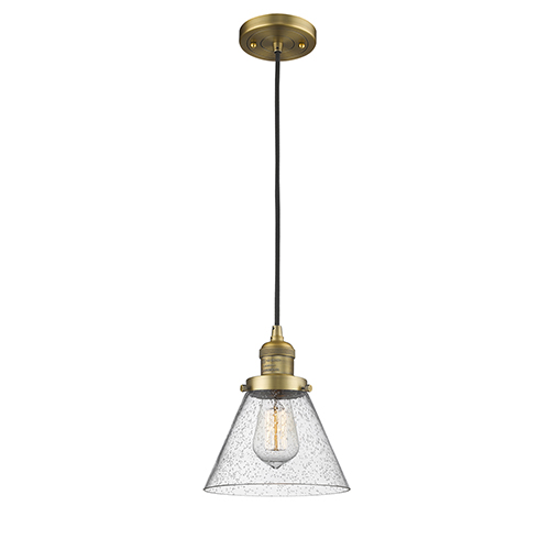 Large Cone Brushed Brass Eight-Inch One-Light Mini Pendant with Seedy Cone Glass and Black Cord