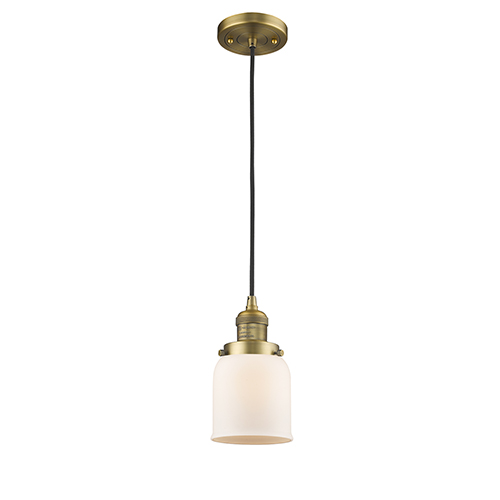 Small Bell Brushed Brass Five-Inch One-Light Mini Pendant with Matte White Cased Bell Glass and Black Cord