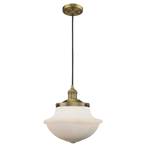 Innovations Lighting Oxford School House Brushed Brass 12-Inch LED Pendant with White Bell Glass
