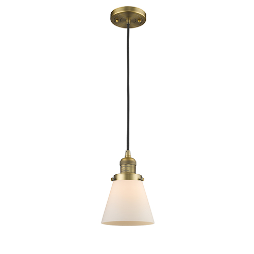 Small Cone Brushed Brass Six-Inch One-Light Mini Pendant with Matte White Cased Cone Glass and Black Cord