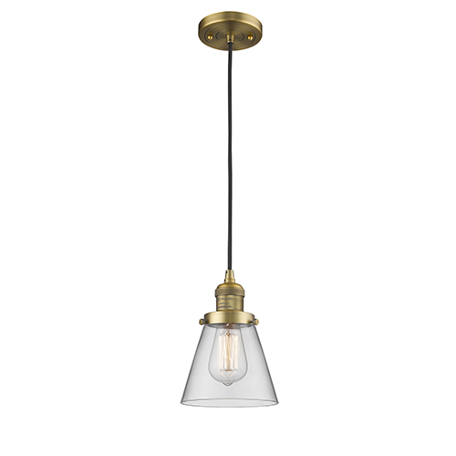 Innovations Lighting Small Cone Brushed Brass Six-Inch LED Mini Pendant with Clear Cone Glass and Black Cord