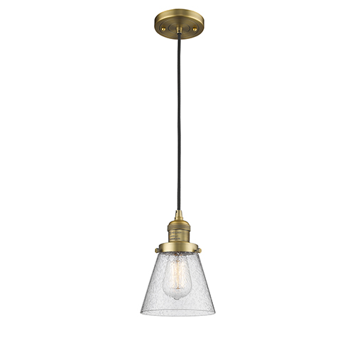 Innovations Lighting Small Cone Brushed Brass Six-Inch One-Light Mini Pendant with Seedy Cone Glass and Black Cord