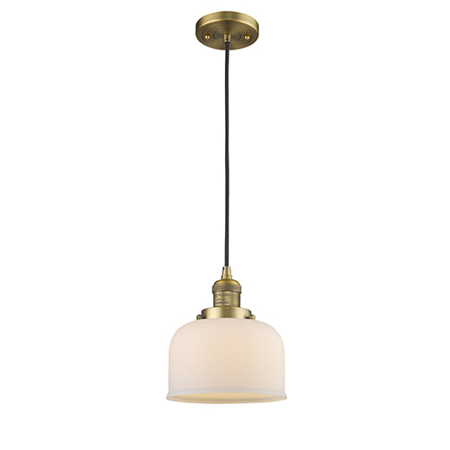 Innovations Lighting Large Bell Brushed Brass Eight-Inch One-Light Mini Pendant with Matte White Cased Dome Glass and Black