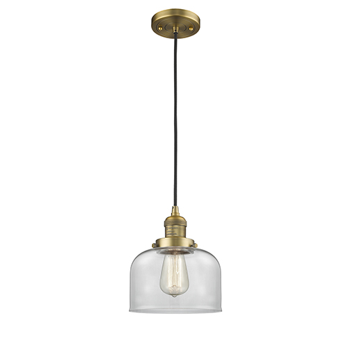 Innovations Lighting Large Bell Brushed Brass Eight-Inch LED Mini Pendant with Clear Dome Glass and Black Cord