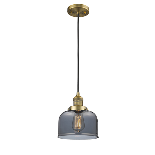 Innovations Lighting Large Bell Brushed Brass Eight-Inch One-Light Mini Pendant with Smoked Dome Glass and Black Cord
