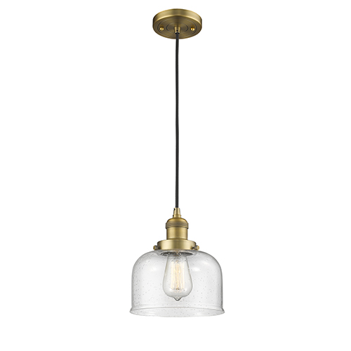 Large Bell Brushed Brass Eight-Inch LED Mini Pendant with Seedy Dome Glass and Black Cord