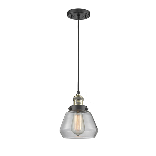 Innovations Lighting Fulton Black Brushed Brass Seven-Inch LED Mini Pendant with Clear Sphere Glass and Black Cord