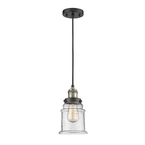 Innovations Lighting Canton Black Brushed Brass Six-Inch LED Mini Pendant with Seedy Bell Glass