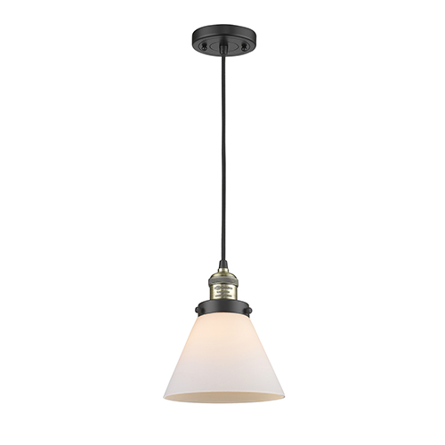 Innovations Lighting Large Cone Black Brushed Brass Eight-Inch LED Mini Pendant with Matte White Cased Cone Glass and Black