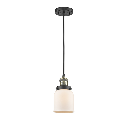 Innovations Lighting Small Bell Black Brushed Brass Five-Inch LED Mini Pendant with Matte White Cased Bell Glass and Black