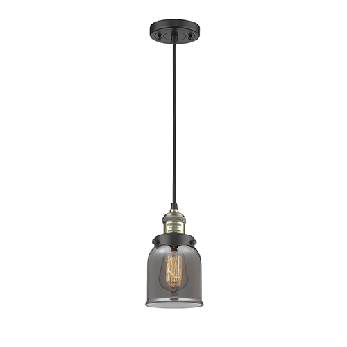 Innovations Lighting Small Bell Black Brushed Brass Five-Inch One-Light Mini Pendant with Smoked Bell Glass and Black Cord