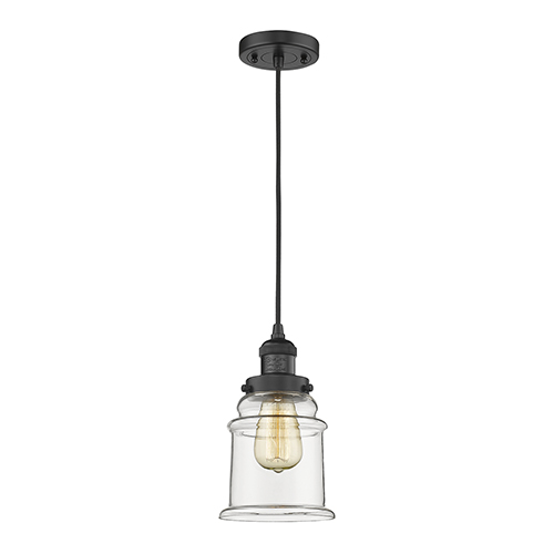 Innovations Lighting Canton Black Six-Inch One-Light Mini Pendant with Clear Bell Glass and Black Cord