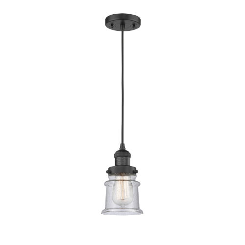 Franklin Restoration Matte Black Six-Inch LED Mini Pendant with Small Seedy Canton Shade and Black Textured Cord