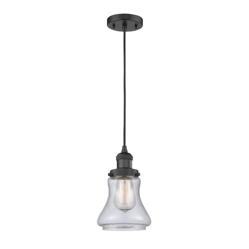 Bellmont Matte Black One-Light Mini Pendant with Seedy Glass
