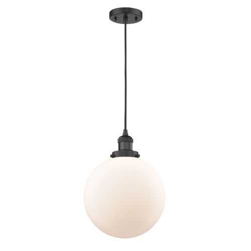 Franklin Restoration Matte Black 10-Inch LED Pendant with Matte White Cased Beacon Shade and Black Textured Cord
