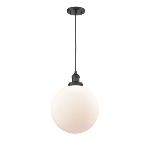Franklin Restoration Matte Black 12-Inch One-Light Pendant with Matte White Cased Beacon Shade and Black Textured Cord