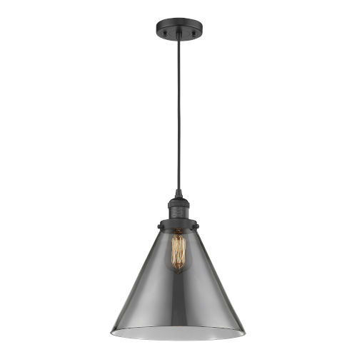 X-Large Cone Matte Black One-Light Pendant with Smoked Glass