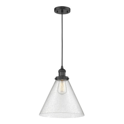 X-Large Cone Matte Black One-Light Pendant with Seedy Glass