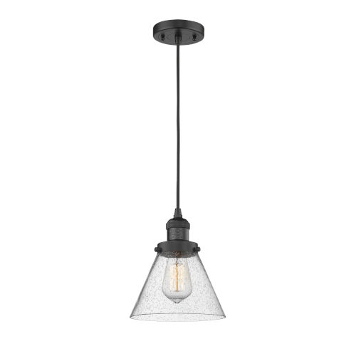 Franklin Restoration Matte Black Eight-Inch LED Mini Pendant with Seedy Large Cone Shade and Black Textured Cord