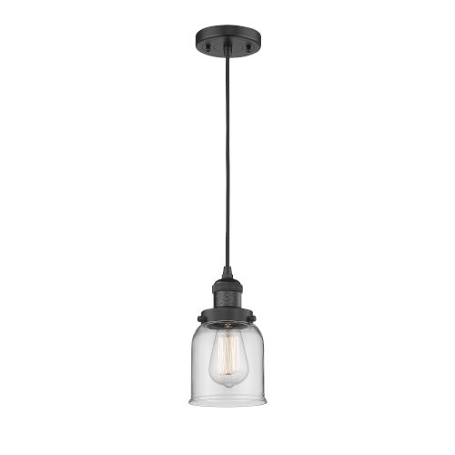 Small Bell Matte Black One-Light Mini Pendant with Clear Glass