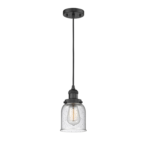 Innovations Lighting Small Bell Black Five-Inch LED Mini Pendant with Seedy Bell Glass and Black Cord