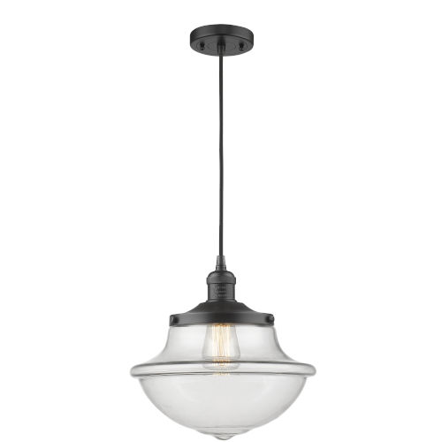 Franklin Restoration Matte Black 12-Inch LED Pendant with Clear Large Oxford Shade and Black Textured Cord