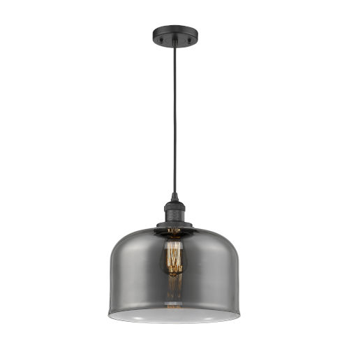 X-Large Bell Matte Black LED Pendant with Smoked Glass