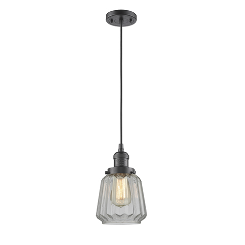 Innovations Lighting Chatham Oiled Rubbed Bronze Six-Inch LED Mini Pendant with Clear Fluted Novelty Glass and Black Cord