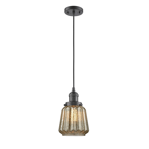 Innovations Lighting Chatham Oiled Rubbed Bronze Six-Inch One-Light Mini Pendant with Mercury Fluted Novelty Glass and Black