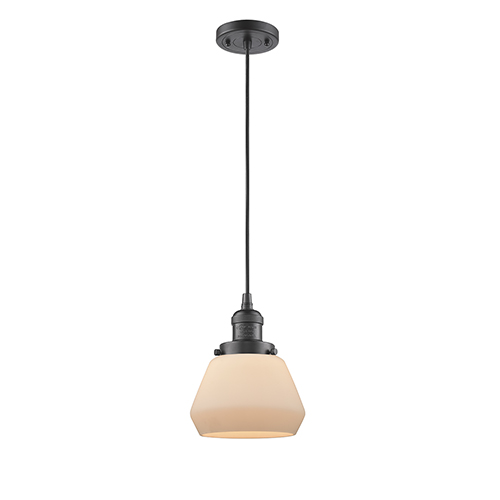 Innovations Lighting Fulton Oiled Rubbed Bronze Seven-Inch One-Light Mini Pendant with Matte White Cased Sphere Glass and