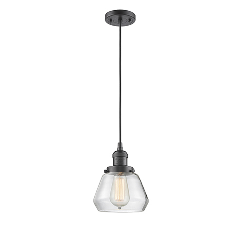 Innovations Lighting Fulton Oiled Rubbed Bronze Seven-Inch One-Light Mini Pendant with Clear Sphere Glass and Black Cord