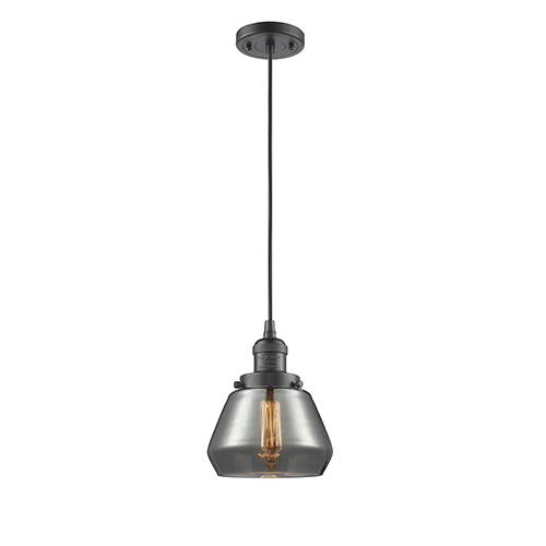 Innovations Lighting Fulton Oiled Rubbed Bronze Seven-Inch LED Mini Pendant with Smoked Sphere Glass and Black Cord