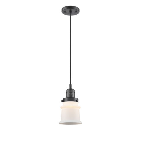 Franklin Restoration Oil Rubbed Bronze Six-Inch LED Mini Pendant with Matte White Canton Shade and Black Textured Cord