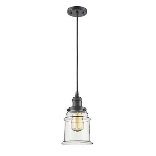 Innovations Lighting Canton Oiled Rubbed Bronze Six-Inch One-Light Mini Pendant with Clear Bell Glass