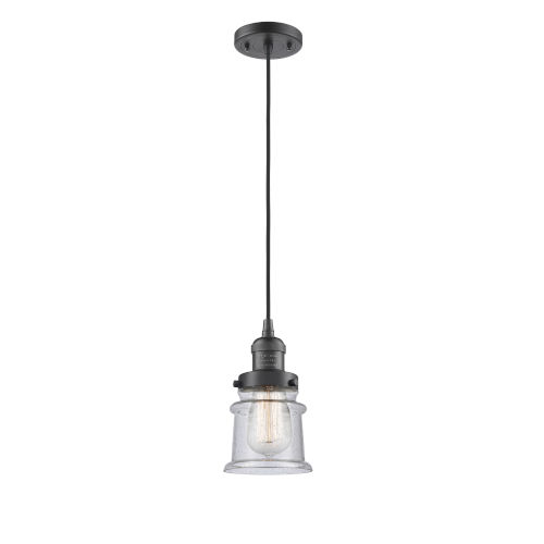 Franklin Restoration Oil Rubbed Bronze Six-Inch One-Light Mini Pendant with Seedy Canton Shade and Black Textured Cord