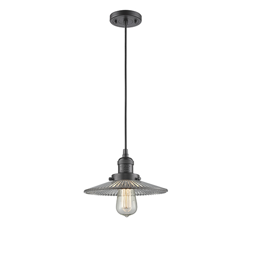 Innovations Lighting Halophane Oiled Rubbed Bronze Nine-Inch One-Light Mini Pendant with Halophane Cone Glass and Black Cord