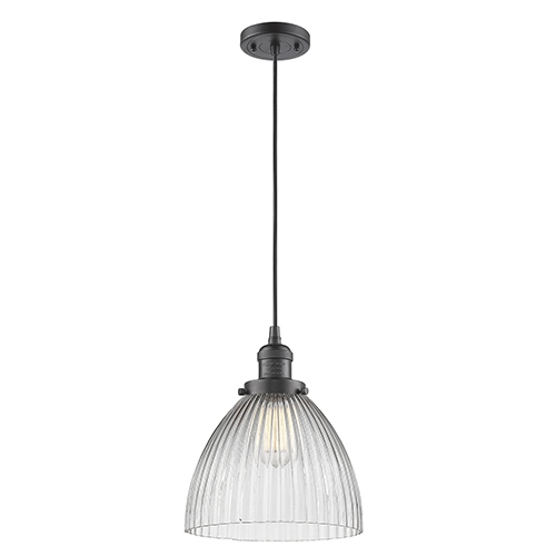 Innovations Lighting Seneca Falls Oiled Rubbed Bronze 10-Inch LED Mini Pendant with Clear Dome Glass
