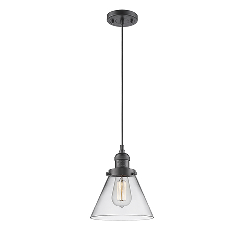 Innovations Lighting Large Cone Oiled Rubbed Bronze Eight-Inch LED Mini Pendant with Clear Cone Glass and Black Cord