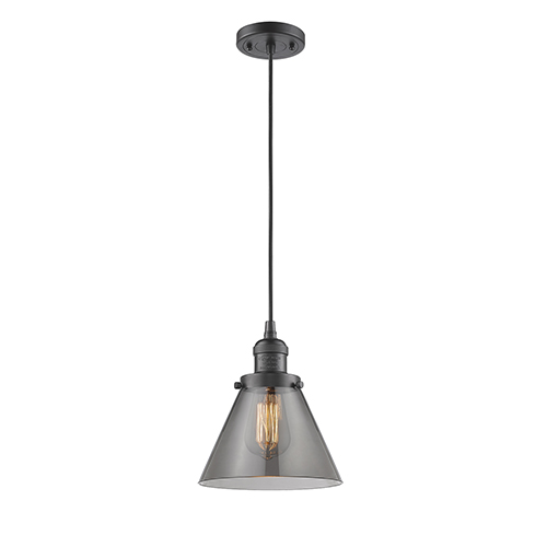 Innovations Lighting Large Cone Oiled Rubbed Bronze Eight-Inch LED Mini Pendant with Smoked Cone Glass and Black Cord