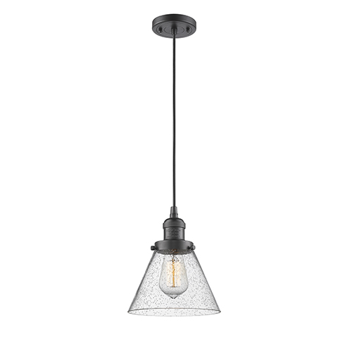 Innovations Lighting Large Cone Oiled Rubbed Bronze Eight-Inch LED Mini Pendant with Seedy Cone Glass and Black Cord
