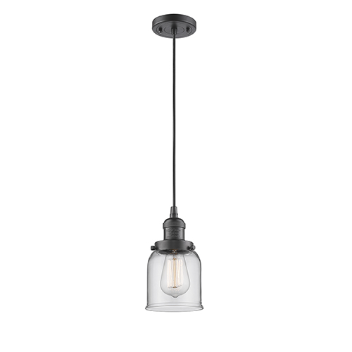 Innovations Lighting Small Bell Oiled Rubbed Bronze Five-Inch LED Mini Pendant with Clear Bell Glass and Black Cord