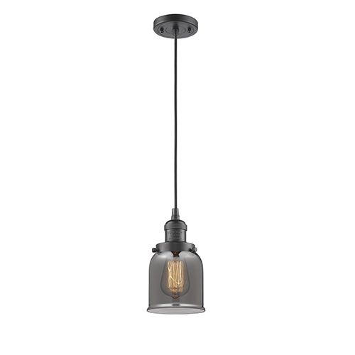 Small Bell Oiled Rubbed Bronze Five-Inch One-Light Mini Pendant with Smoked Bell Glass and Black Cord