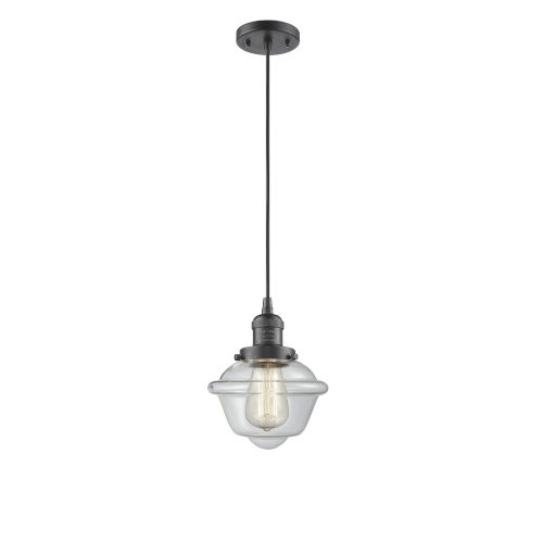 Small Oxford Oil Rubbed Bronze LED Mini Pendant with Clear Glass