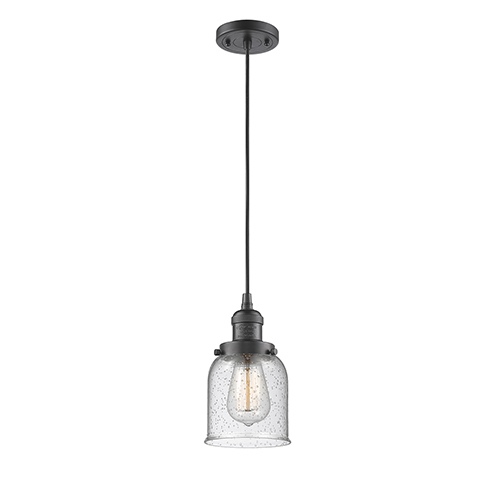 Small Bell Oiled Rubbed Bronze Five-Inch One-Light Mini Pendant with Seedy Bell Glass and Black Cord